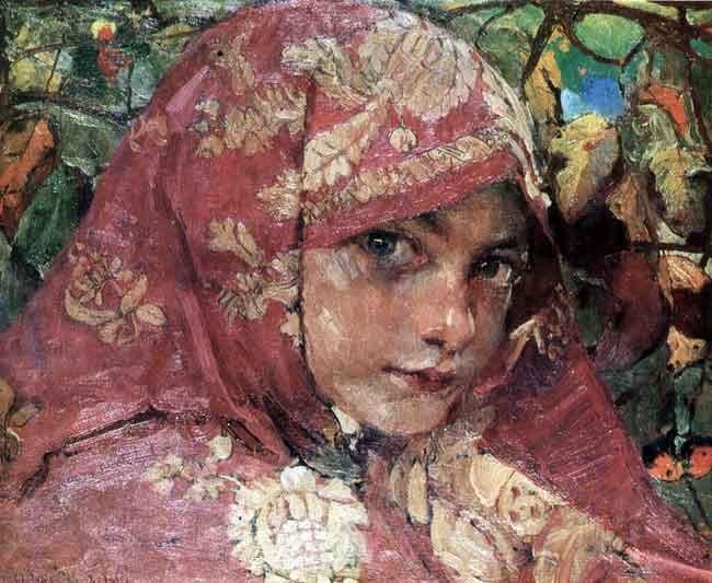 Girl's Head in a Shawl - Fedir Krychevsky