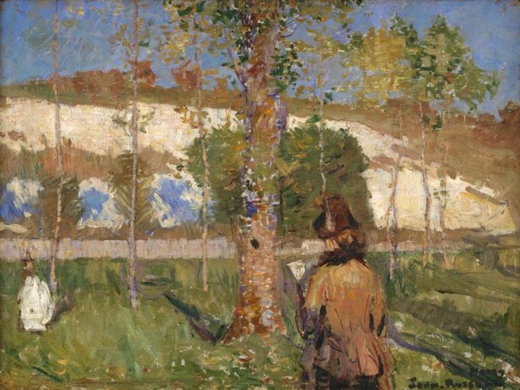 Madame Sisley on the banks of the Loing at Moret, 1887 - John Peter Russell