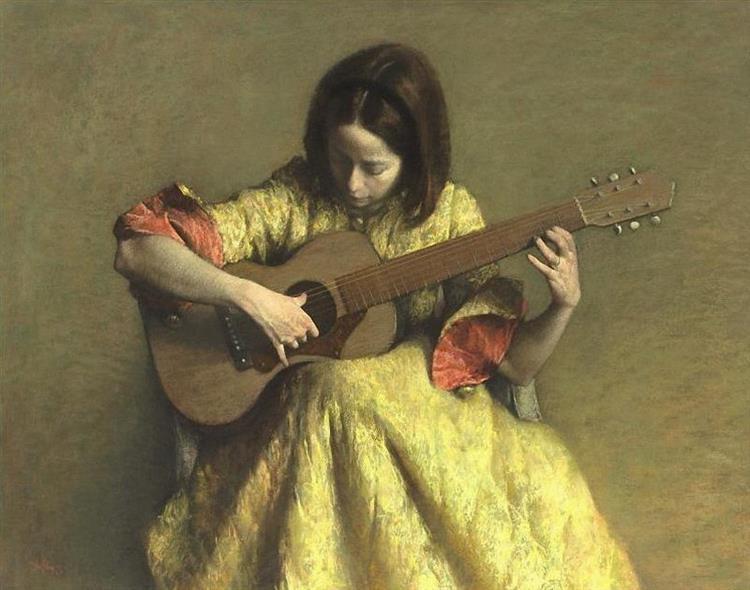 Girl with Guitar, 1967 - Aaron Shikler