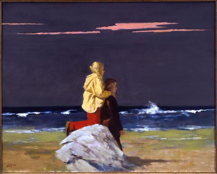 Two Figures, Driftwood at Truman Beach, 2005 - Aaron Shikler