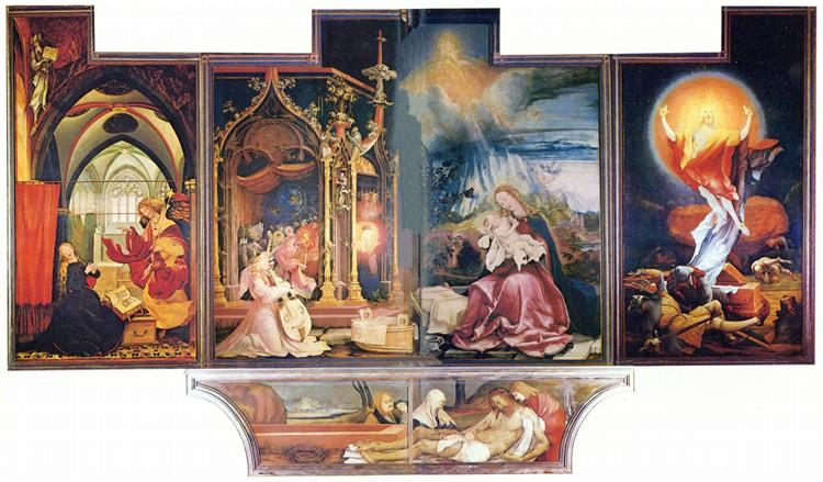 The Annunciation; Virgin and Child with Angels; The Resurrection (Second view with the open wings), c.1510 - c.1515 - Matthias Grünewald