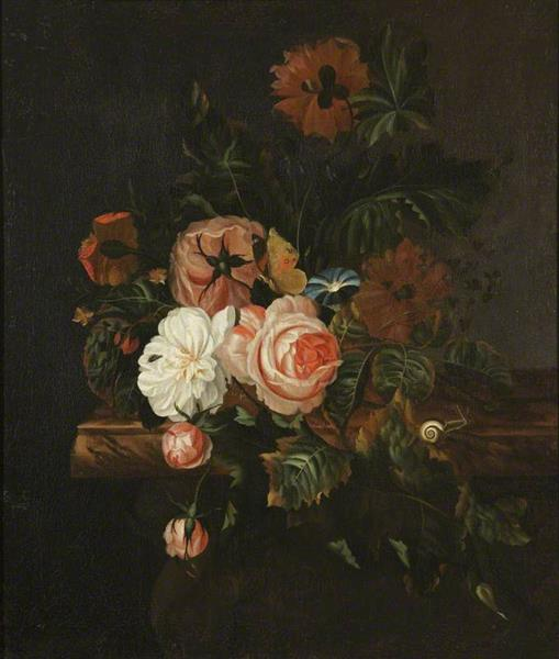 Roses and Poppies and a Snail, 1675 - Willem van Aelst