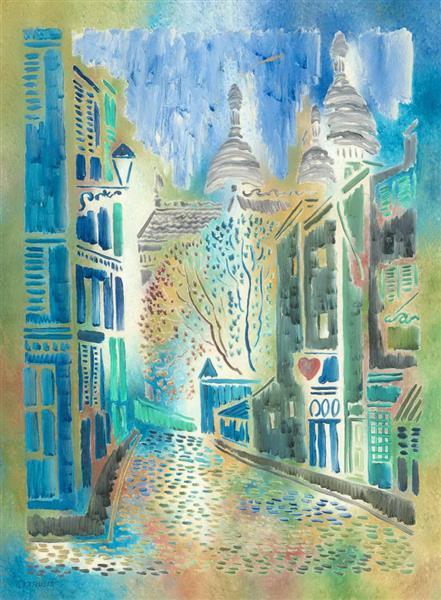 Little Street of Montmartre, Paris, c.1960 - Vytautas Kasiulis