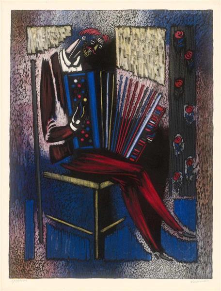 The Accordionist, c.1950 - Vytautas Kasiulis