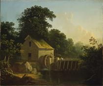 Landscape with Waterwheel and Boy Fishing - George Caleb Bingham