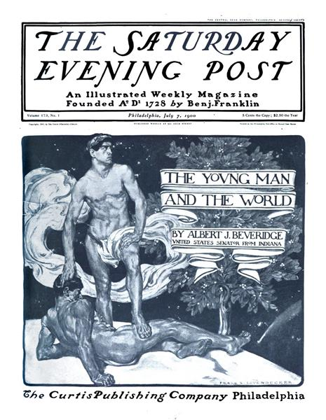 """The Young Man and the World"" Saturday Evening Post Cover, 1900 - Frank Xavier Leyendecker"