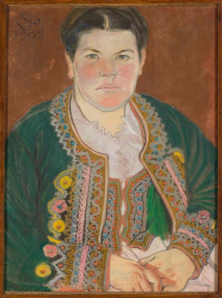 Portret Żony W Serdaku - 斯坦尼斯拉夫·维斯皮安斯基