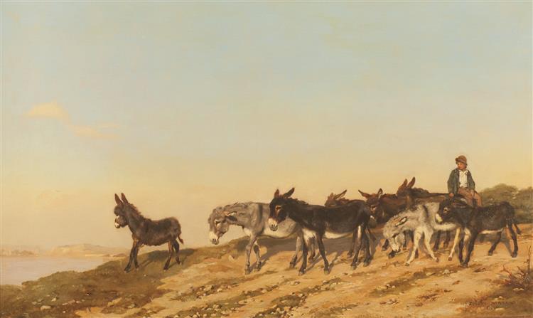 Donkeys in the Midi, 1873 - Eugène Burnand