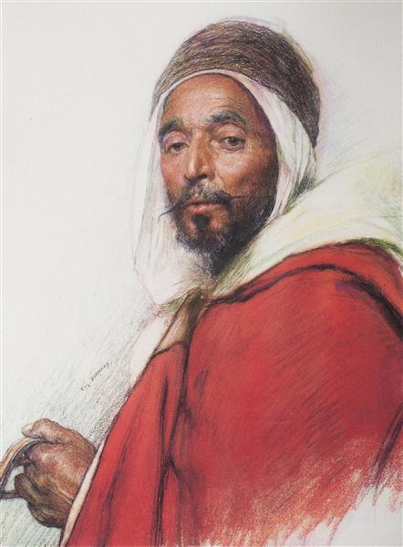 Algerian Spahi Mohamed Osman from Oran - Eugène Burnand
