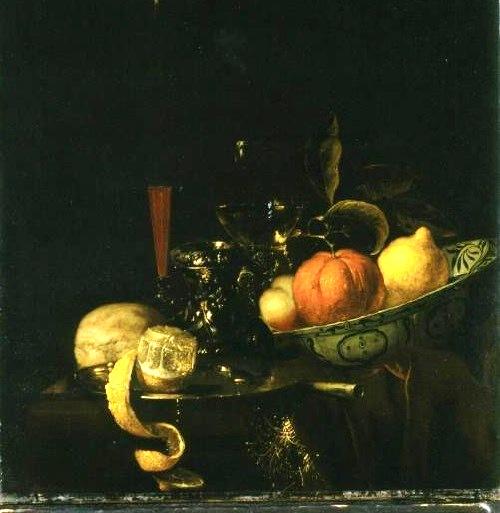 Still-Life: Orange, Lemon, and Wine in a Glass, c.1670 - Juriaen van Streeck