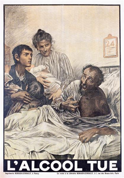 An Alcoholic Man with Delirium - Eugène Burnand