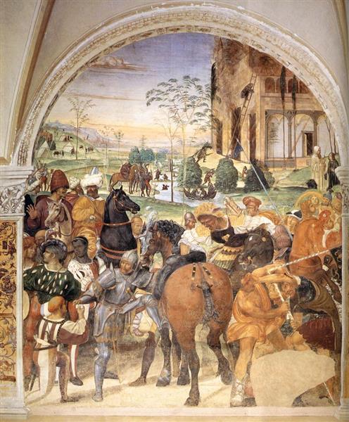 Life of St Benedict, Scene 30. Benedict Foretells the Destruction of Montecassino, 1505 - 1508 - Il Sodoma