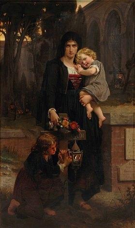 Sa Mère Avec Ses Deux Enfants À La Tombe Du Père, 1870 - Pierre-Auguste Cot