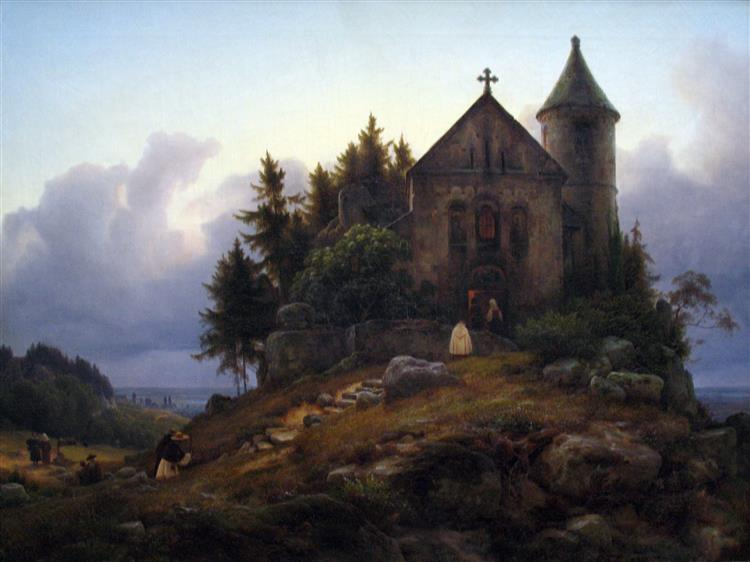 Chapel on the Edge of the Wood, 1839 - Karl Lessing