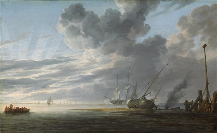 Seascape in the Morning (Estuary at Dawn), 1645 - Simon de Vlieger