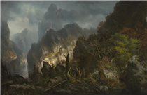 Storm in the Mountains - Hermann Ottomar Herzog