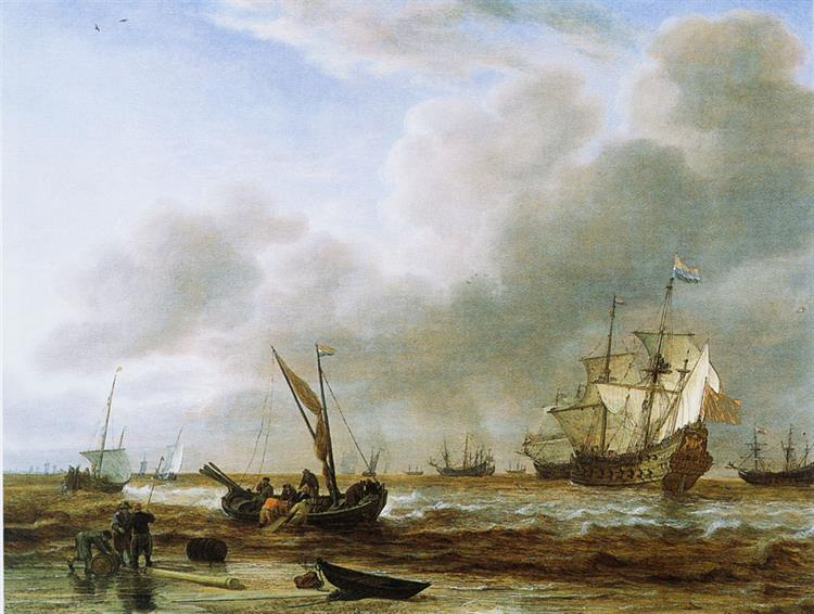 The Frigate 'Amsterdam' at Den Helder, 1650 - Simon de Vlieger