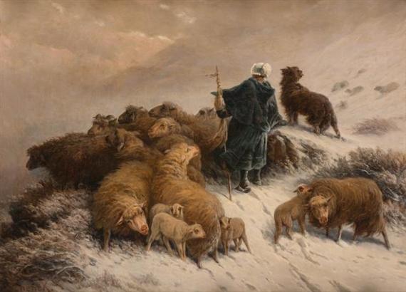 A Shepherd and Flock in the Snow - August Friedrich Schenck