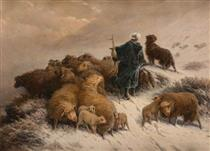 A Shepherd and Flock in the Snow - August Friedrich Schenck