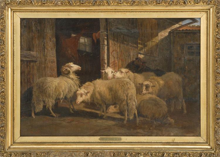 Barn Scene with Sheep - August Friedrich Schenck