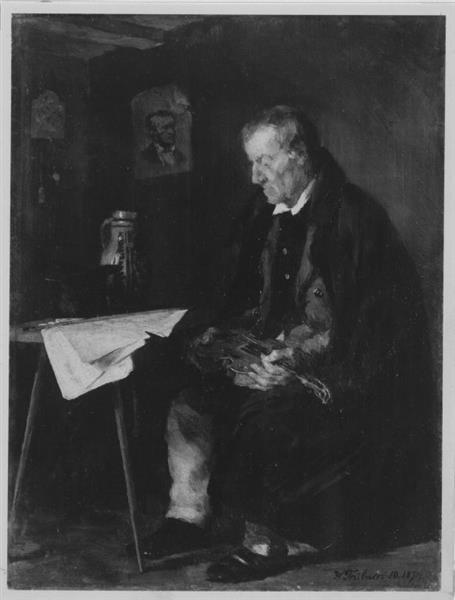 Sitting Musician (The Old Violinist) - Wilhelm Trubner