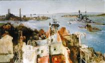HMS 'Revenge' Leaving Harbour - Richard Eurich