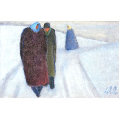 Three People Walking in Winter, 1980 - Werner Berg