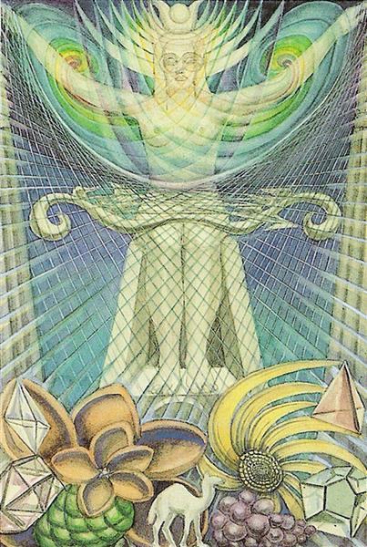 Atu II - The High Priestess - Thoth Tarot - Aleister Crowley, 1938 - 1943 - Frieda Harris