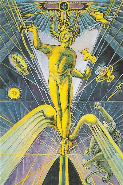 Atu I - The Magus - Thoth Tarot - Aleister Crowley, 1938 - 1943 - Lady Frieda Harris