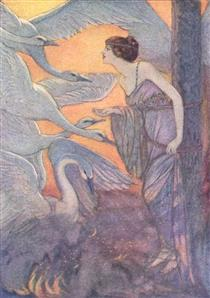 Illustration of Six Swans of Grimm's Fairy Tales - Elenore Abbott