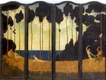 A Folding Screen, Entitled Rose Valley - Elenore Abbott