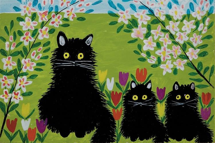 Three Black Cats, 1955 - Maud Lewis