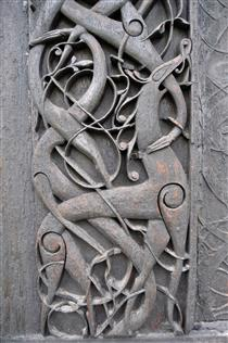 Carving on the Urnes Stave Church - Viking art