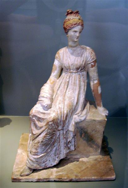 Tanagra Figurine, c.200 BC - Ancient Greek Painting and Sculpture