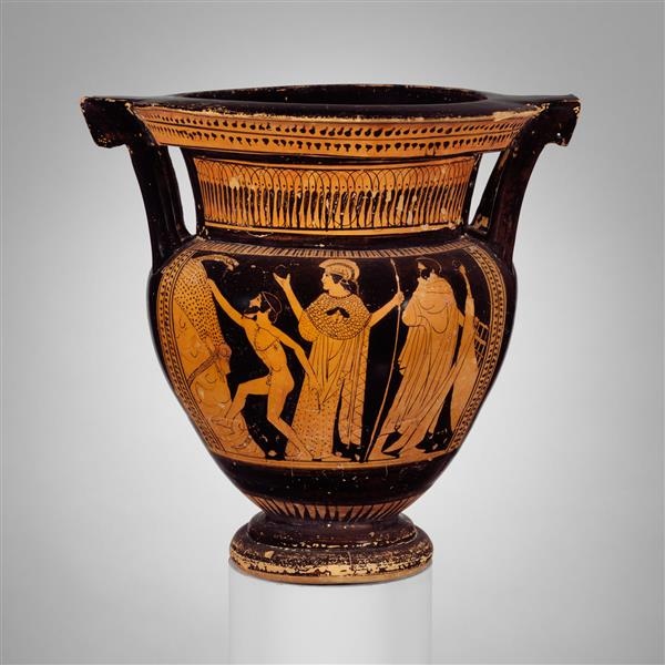 Terracotta Column Krater (bowl for Mixing Wine and Water), c.460 BC - Ancient Greek Pottery