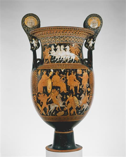 Terracotta Volute Krater (vase for Mixing Wine and Water), c.310 BC - Вазопись Древней Греции