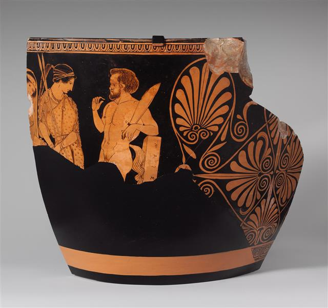 Two Fragments of a Terracotta Skyphos (deep Drinking Cup), c.400 BC - Ancient Greek Pottery