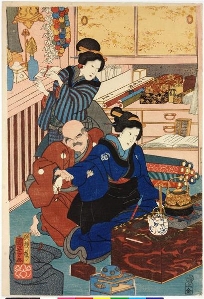 Flowers of Edo (Left), c.1860 - Utagawa Kuniyoshi