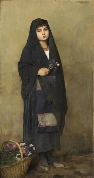 Das Blumenmädchen, Signiert, 1886 - Gustave-Claude-Etienne Courtois
