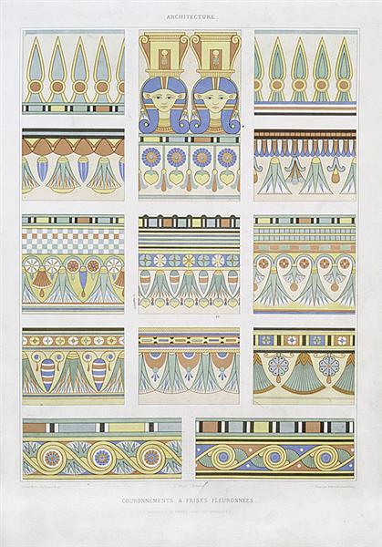 Architecture : couronnements & frises fleuronnées (nécropole de Thèbes XVIIIe - XXe dynasties), 1878 - Émile Prisse d'Avesnes
