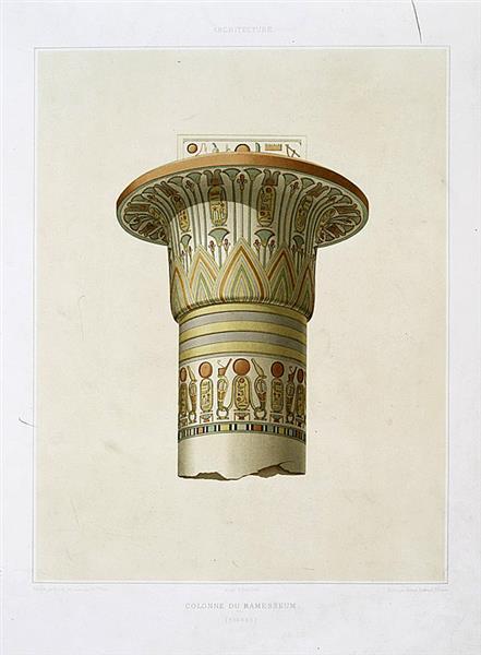 Architecture : colonne du Ramesseum (Thèbes), 1878 - Émile Prisse d'Avennes