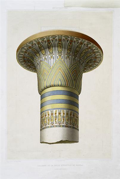 Architecture : colonne de la salle hypostyle de Karnac (Thèbes - XIXe dynastie), 1878 - Émile Prisse d'Avennes