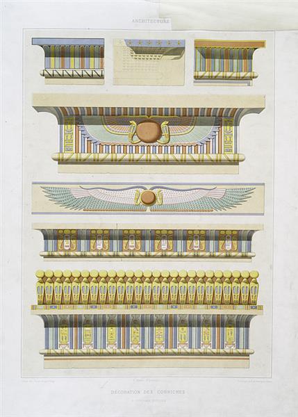 Architecture : décoration des corniches, à divers époques, 1878 - Émile Prisse d'Avennes