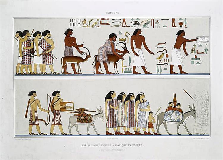 Peinture : arrivée d'une famille asiatique en Égypte (Beni Haçen - XIIe. dynastie), 1878 - Émile Prisse d'Avennes