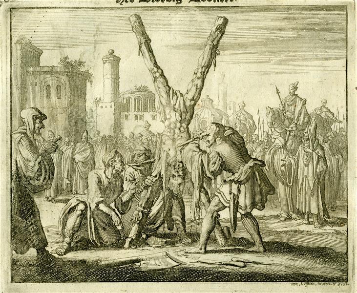 Apostle Bartholomew Skinned Alive and Beheaded, Armenia, AD 70, 1685 - Jan Luyken