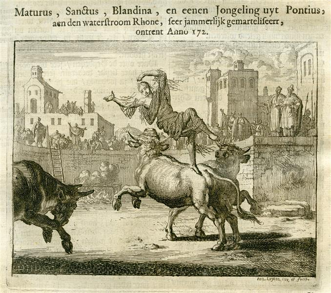 Blandine Half Roasted on a Grill and Then Thrown to Wild Bulls, AD 172, 1684 - Jan Luyken