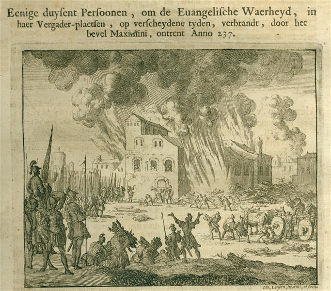 Burning of Thousands of Christians by Emperor Maximus, AD 237, 1685 - Jan Luyken