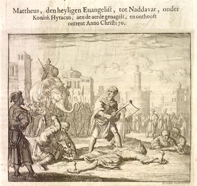 Evangelist Matthew Beheaded, Naddavar, Ethiopia, AD 70, 1685 - Jan Luyken