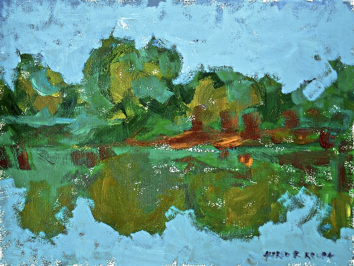 The sketch in acrylic on site (the riverbank), 2011 - Alfred Freddy Krupa