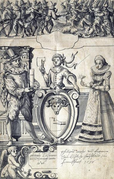 Cartoon for the Frankfurt Butcher Philipp Mohr and His Wife Catherine, 1596 - Адам Ельсгаймер